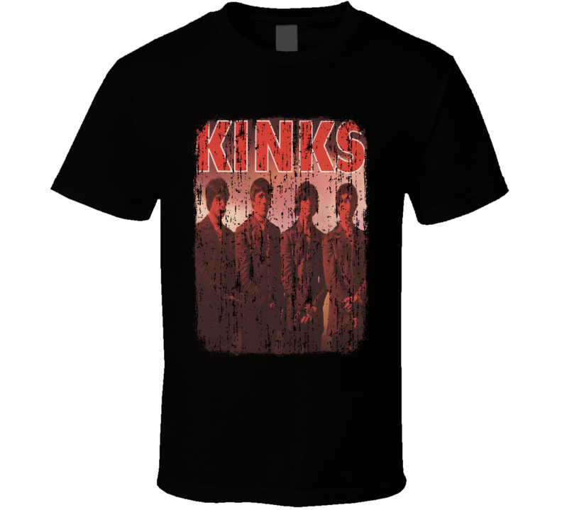Kinks Rock Music Celebrity Tribute Album Cover Worn Look Cool T Shirt