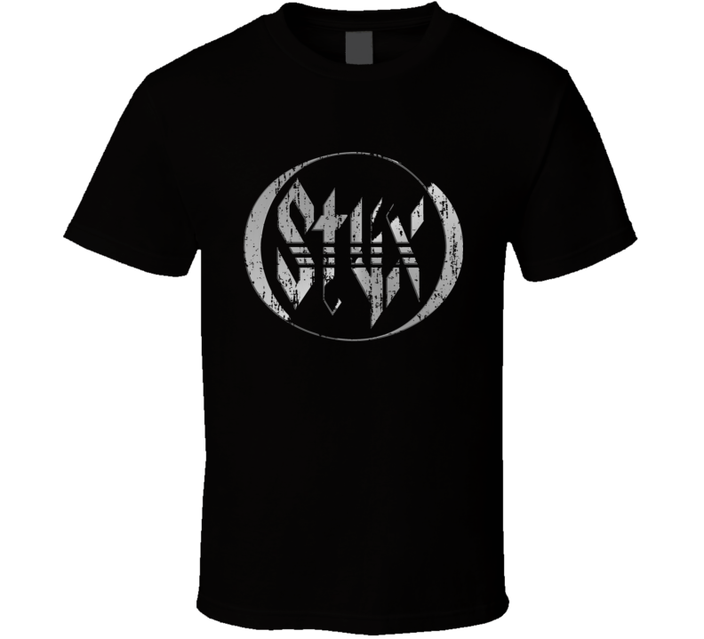 Styx 70s Rock Music Celebrity Classic Tribute Logo Worn Look T Shirt