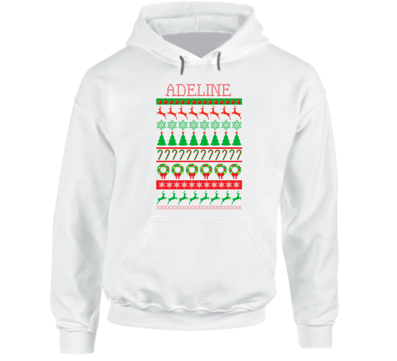 Adeline Personalized Ugly Christmas Sweater Funny Gift First Name Hooded Pullover