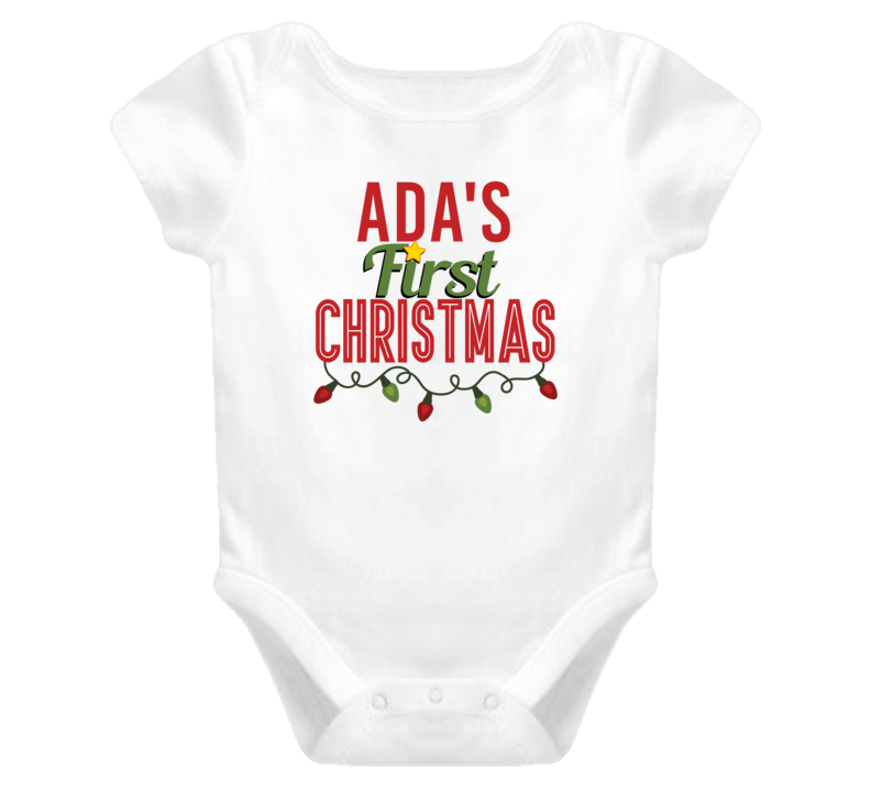 Ada First Christmas Cute Personalized Name Holiday Gift Baby One Piece