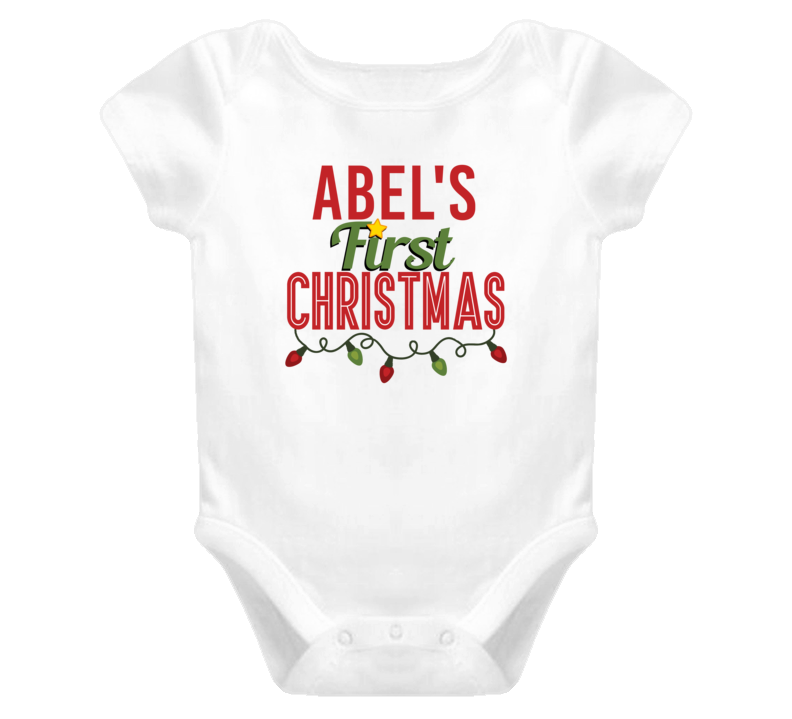 Abel First Christmas Cute Personalized Name Holiday Gift Baby One Piece