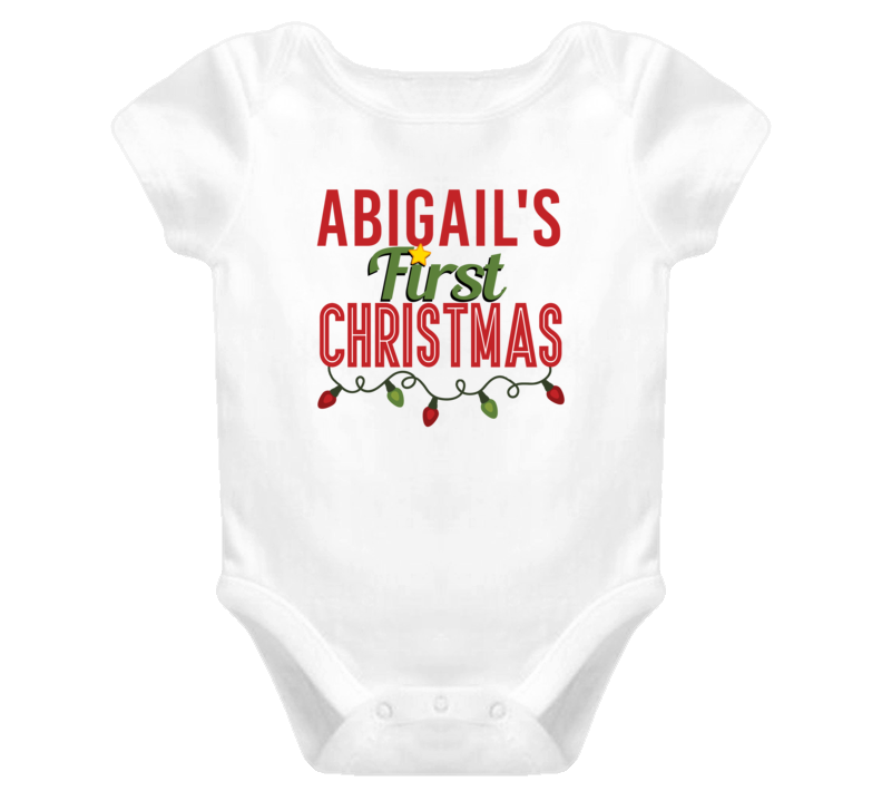 Abigail First Christmas Cute Personalized Name Holiday Gift Baby One Piece