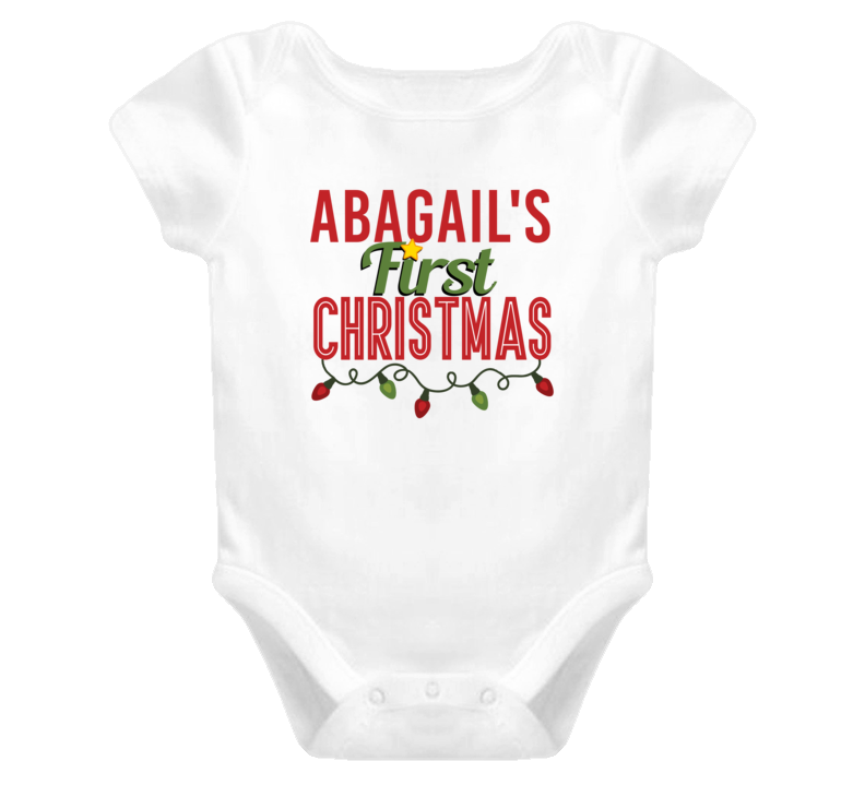Abagail First Christmas Cute Personalized Name Holiday Gift Baby One Piece