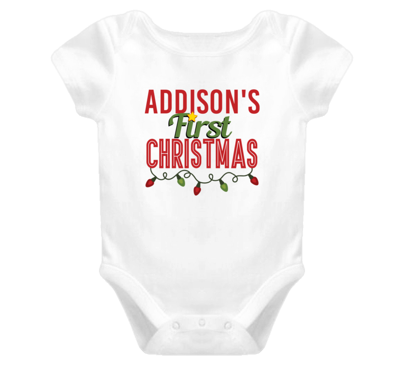 Addison First Christmas Cute Personalized Name Holiday Gift Baby One Piece