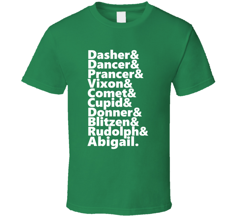 Reindeer Rudolph And Abigail Personalized First Name Holiday Gift T Shirt