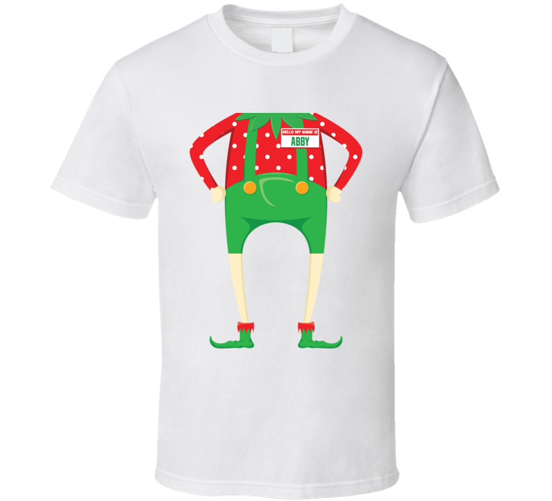 Abby Personalized First Name Christmas Elf Body Funny Holiday Gift T Shirt