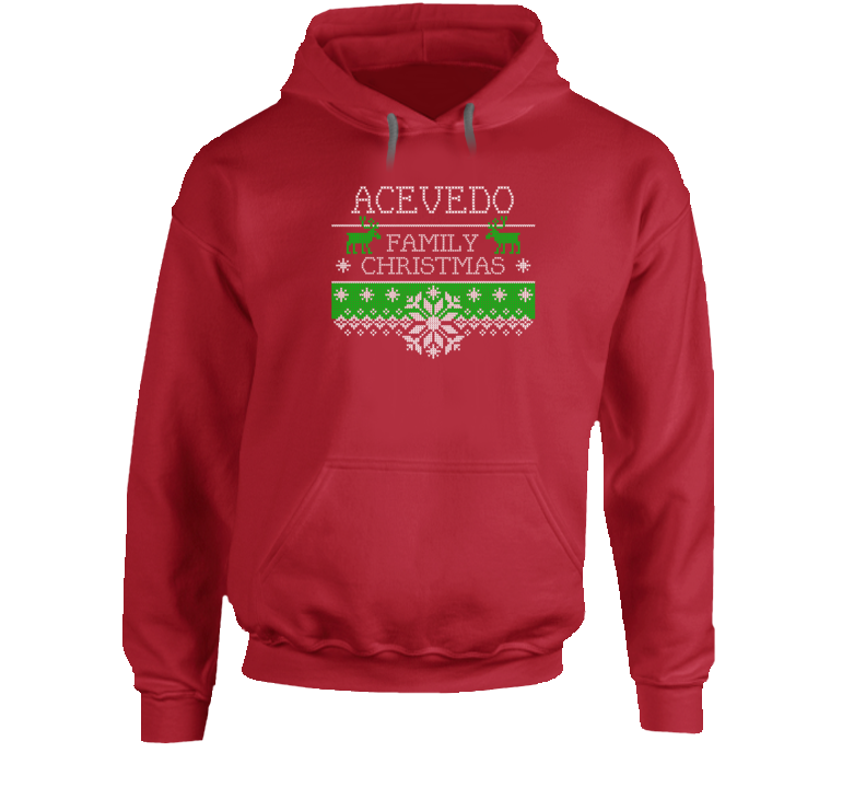 Acevedo Family Christmas Cute Ugly Holiday Sweater Gift Hooded Pullover