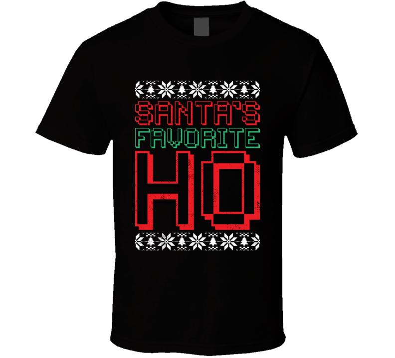 Santa's Favorite Ho Christmas Worn Look T Shirt