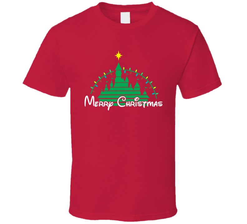 Merry Christmas Disney Castle Parody T Shirt