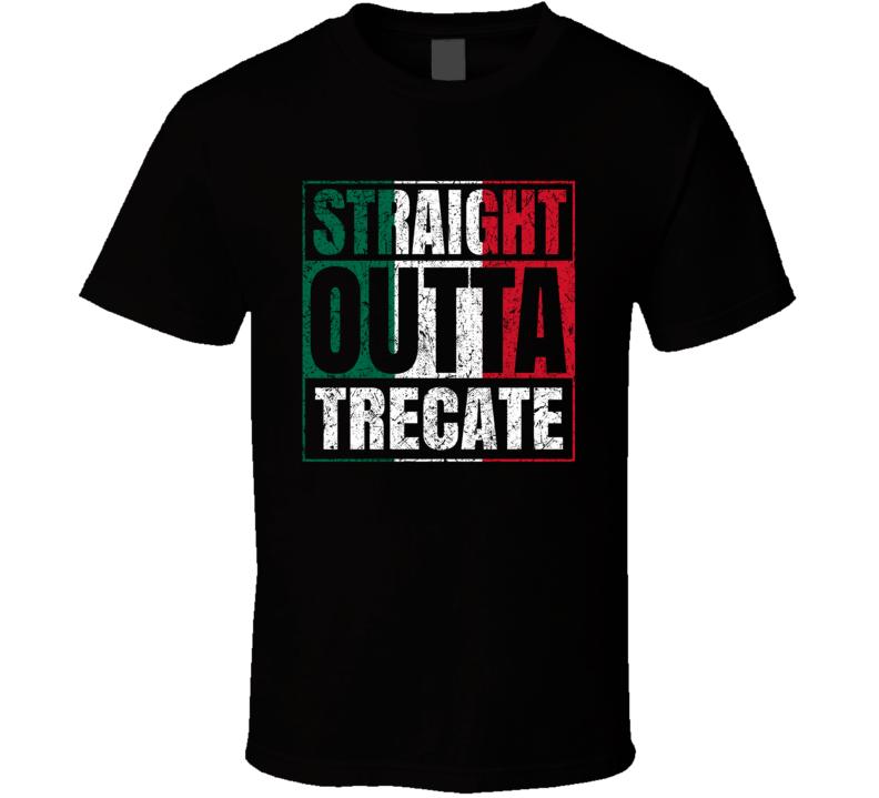Straight Outta Trecate Italy Italian City Worn Look Grungy T Shirt
