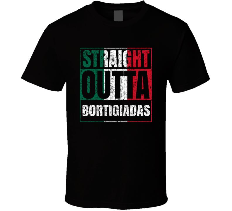 Straight Outta Bortigiadas Italy Italian City Worn Look Grungy T Shirt