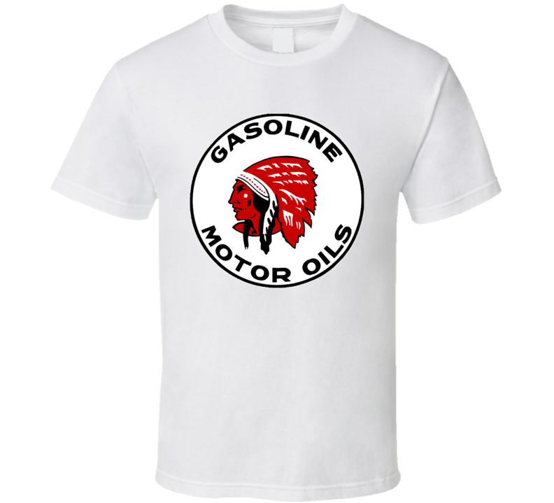 Red Indian Gasoline Oil Logo Retro T Shirt