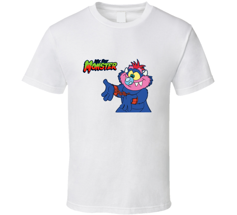 My Pet Monster Retro Cartoon T Shirt  - White