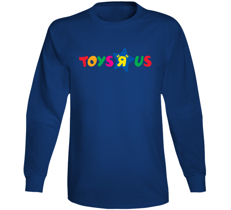Toys R Us Retro Kids Store Logo Long Sleeve Blue T Shirt