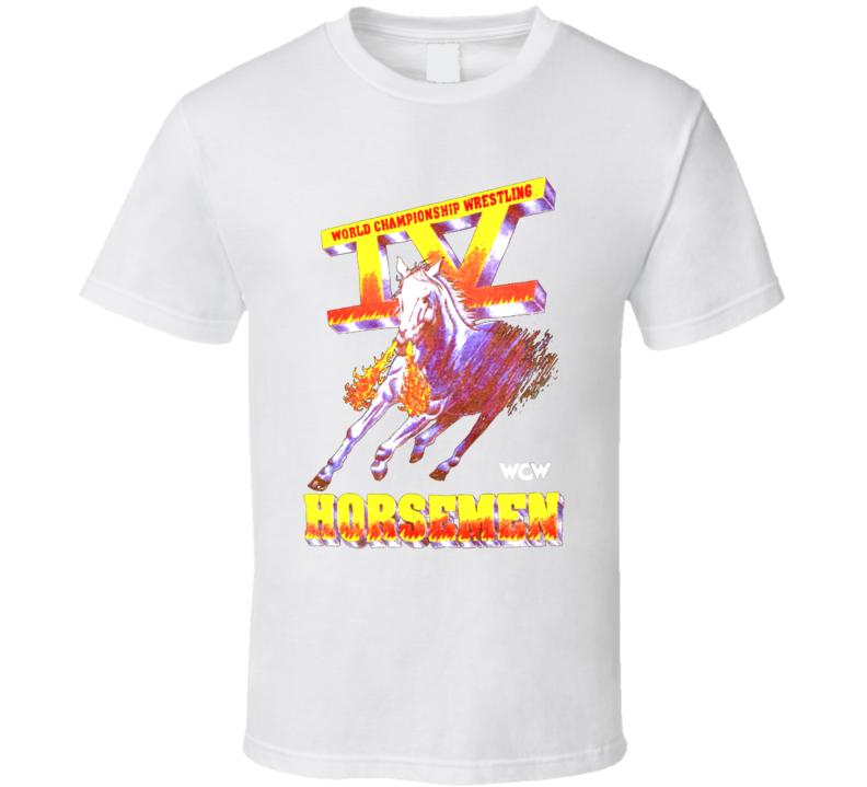 Four Horsemen Logo Wcw White Wrestling T Shirt