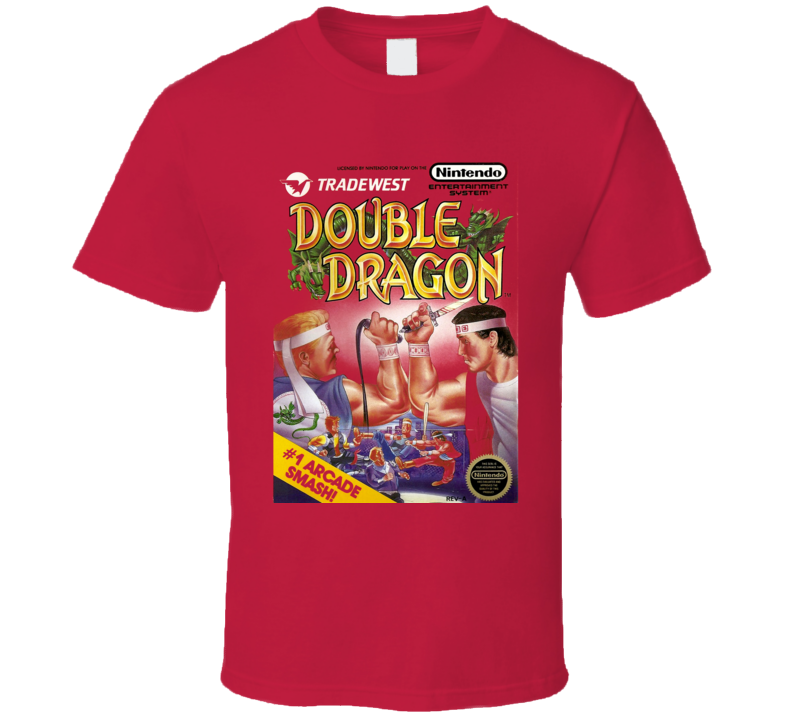 Double Dragon Retro Nes Box Art Video Game T Shirt