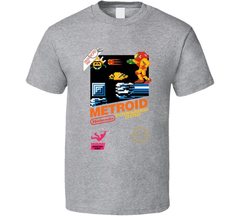 Metroid Samus Nes Box Art Video Game T Shirt