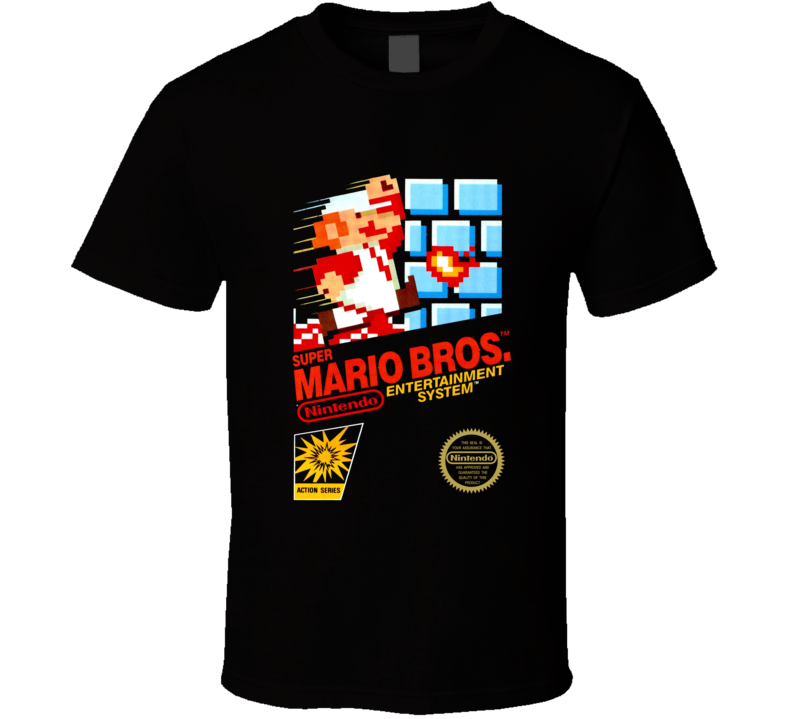 Super Mario Bros Nes Black Box Video Game T Shirt