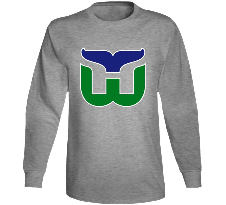 Hartford Whalers Retro Hockey Team Logo Long Sleeve T Shirt