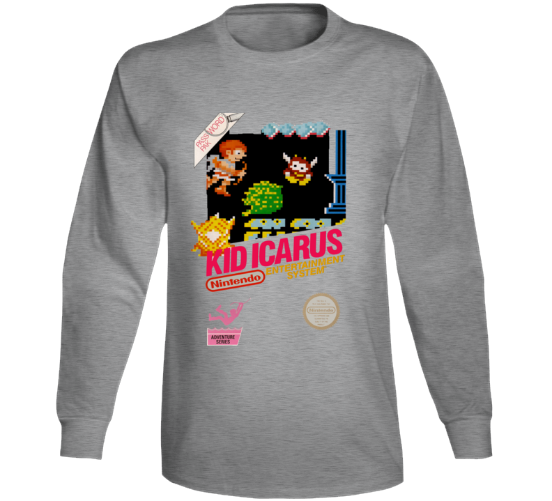 Kid Icarus Nes Box Art Retro Video Game Long Sleeve T Shirt