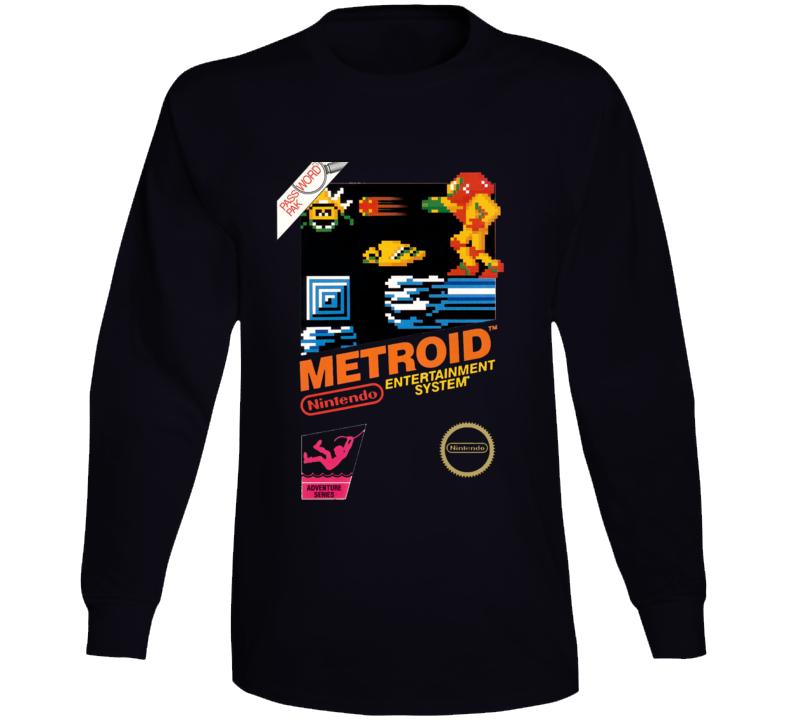 Metroid Nes Box Art Retro Video Game Long Sleeve T Shirt
