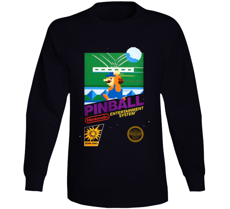 Pinball Nes Box Art Retro Video Game Long Sleeve T Shirt