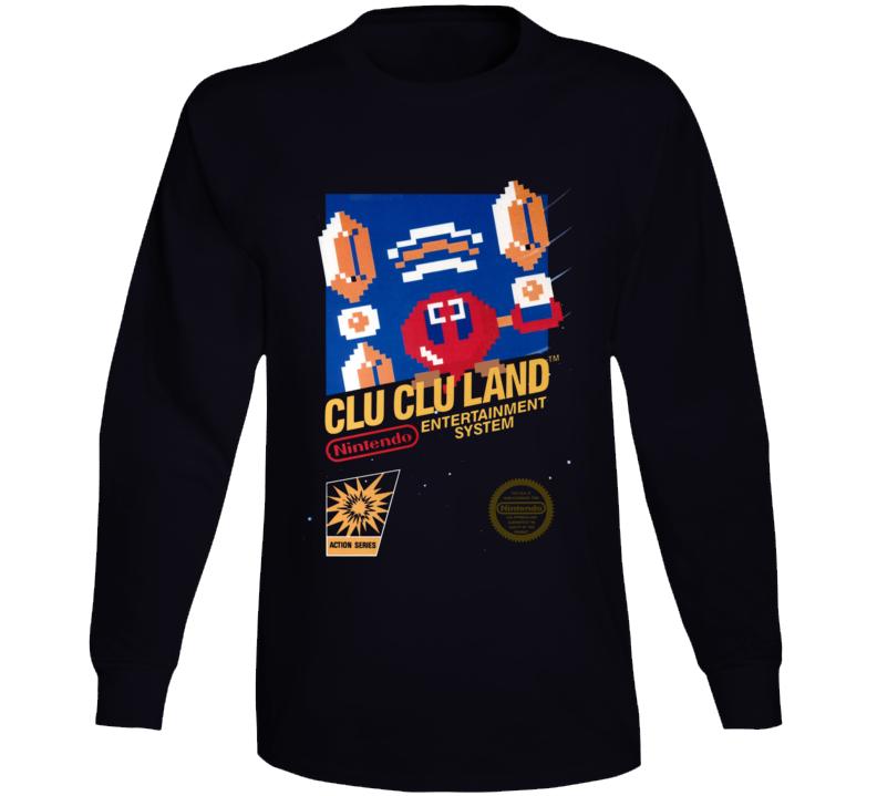 Clu Clu Land Nes Box Art Retro Video Game Long Sleeve T Shirt