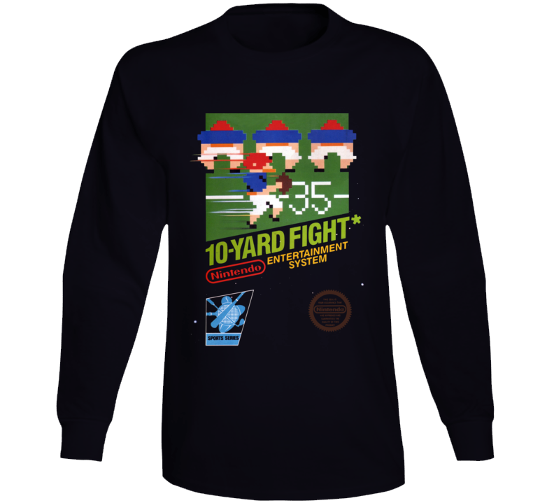 10-yard Fight Nes Box Art Retro Video Game Long Sleeve T Shirt