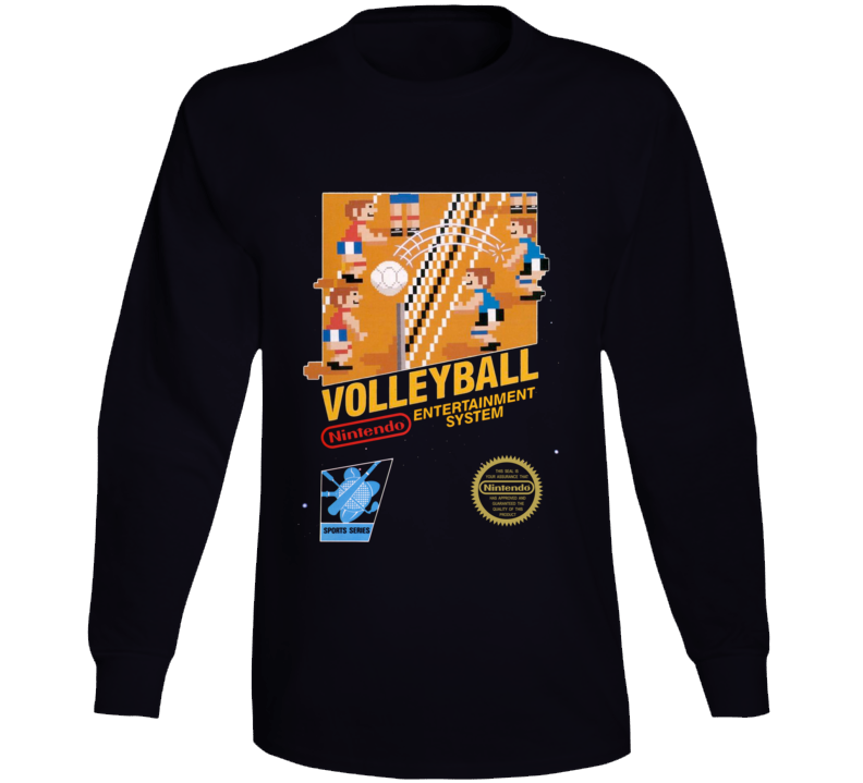 Volleyball Nes Box Art Retro Video Game Long Sleeve T Shirt
