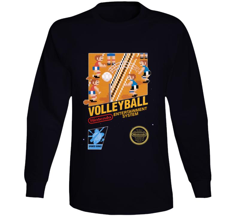 Volleyball Nes Box Art Retro Video Game Long Sleeve T Shirt