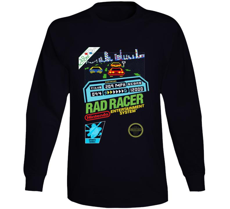 Rad Racer Nes Box Art Retro Video Game Long Sleeve T Shirt