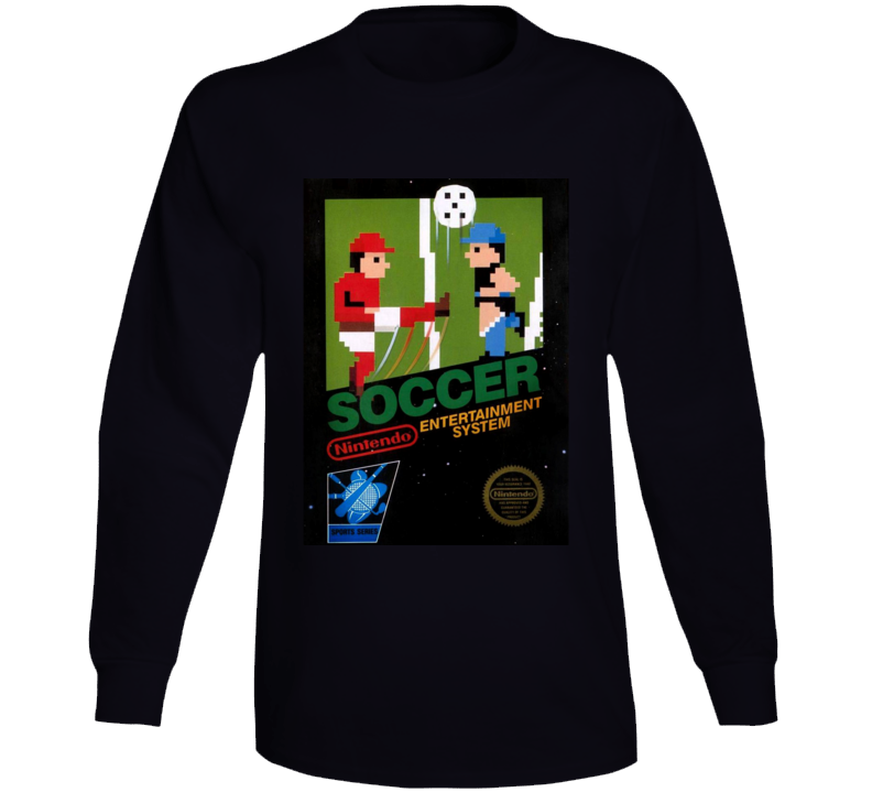 Soccer Nes Box Art Retro Video Game Long Sleeve T Shirt