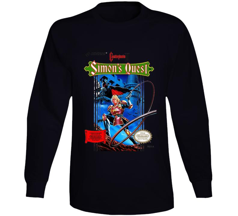 Castlevania Simon' S Quest Nes Box Art Retro Video Game Long Sleeve T Shirt