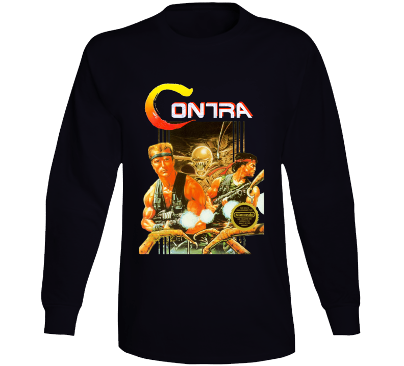 Contra Nes Box Art Retro Video Game Long Sleeve T Shirt