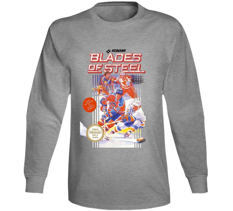 Blades Of Steel Nes Box Art Retro Video Game Long Sleeve T Shirt