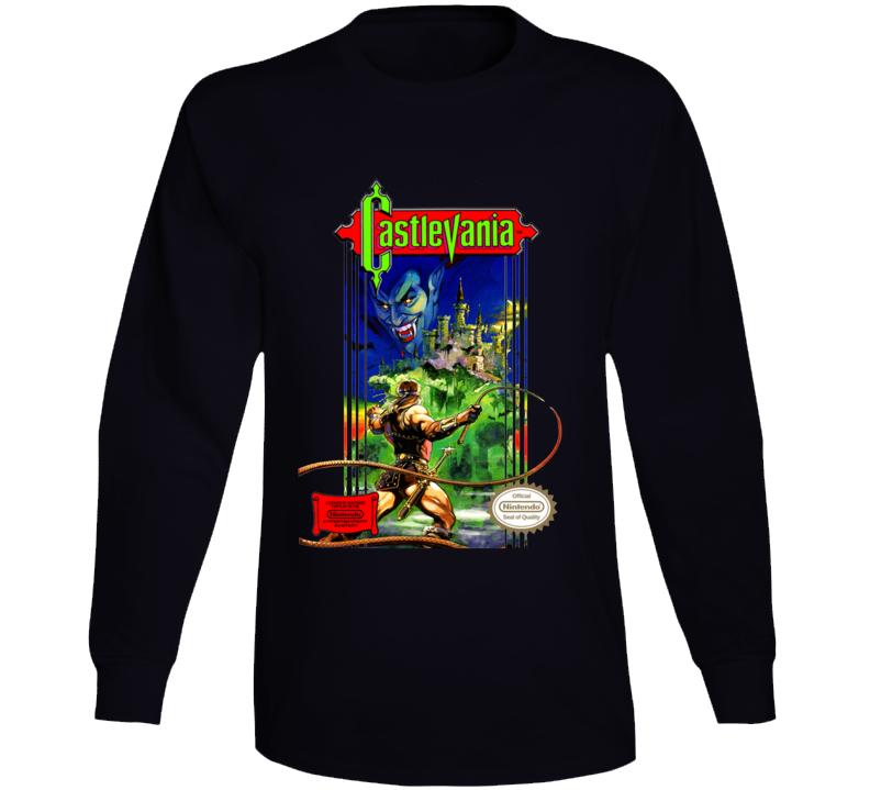 Castlevania Nes Box Art Retro Video Game Long Sleeve T Shirt