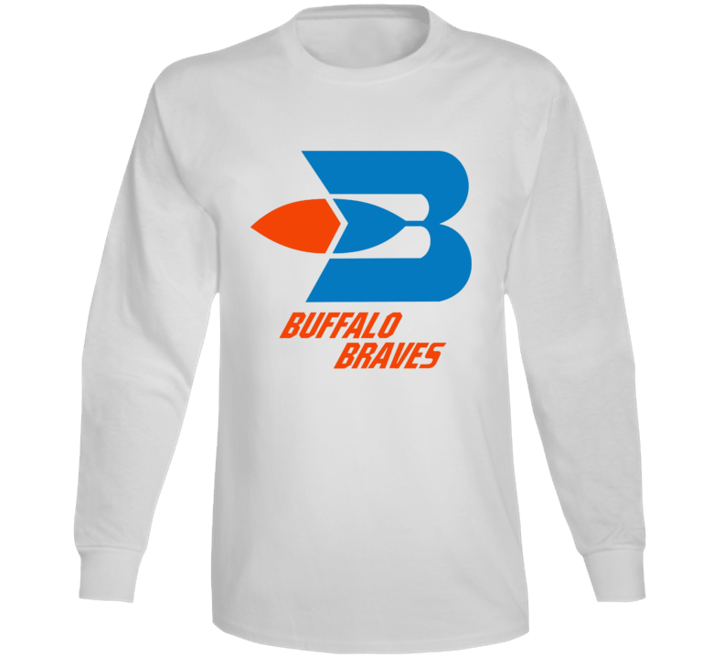 Buffalo Braves Retro Baseketball Team Logo White Long Sleeve T Shirt