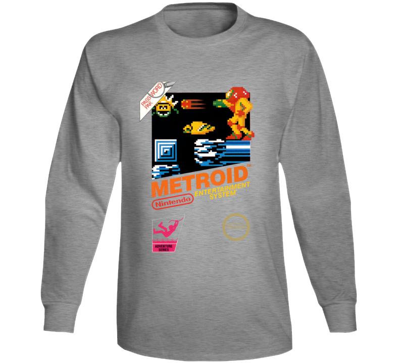 Metroid Nes Box Art Retro Video Game Grey Long Sleeve T Shirt