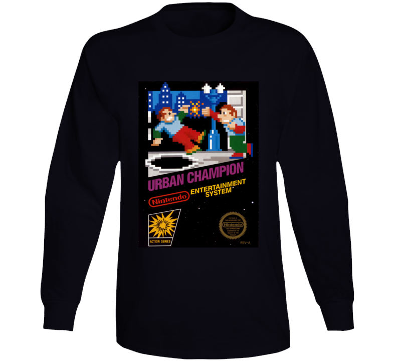 Urban Champion Nes Box Art Retro Video Game Long Sleeve T Shirt