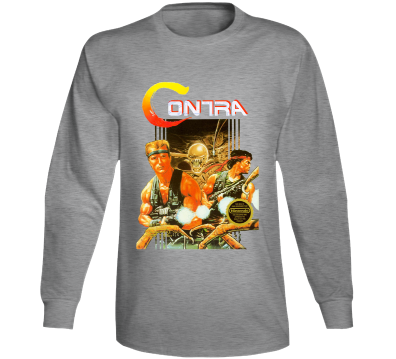 Contra Nes Box Art Retro Video Game Grey Long Sleeve T Shirt
