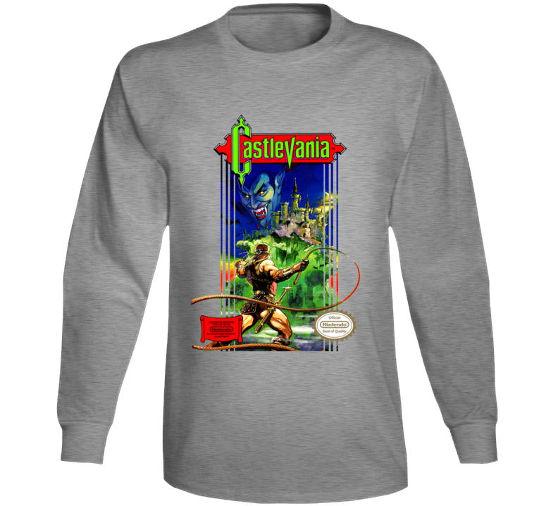 Castlevania Nes Box Art Retro Video Game Grey Long Sleeve T Shirt