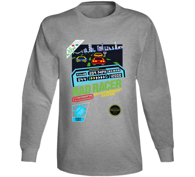Rad Racer Nes Box Art Retro Video Game Grey Long Sleeve T Shirt