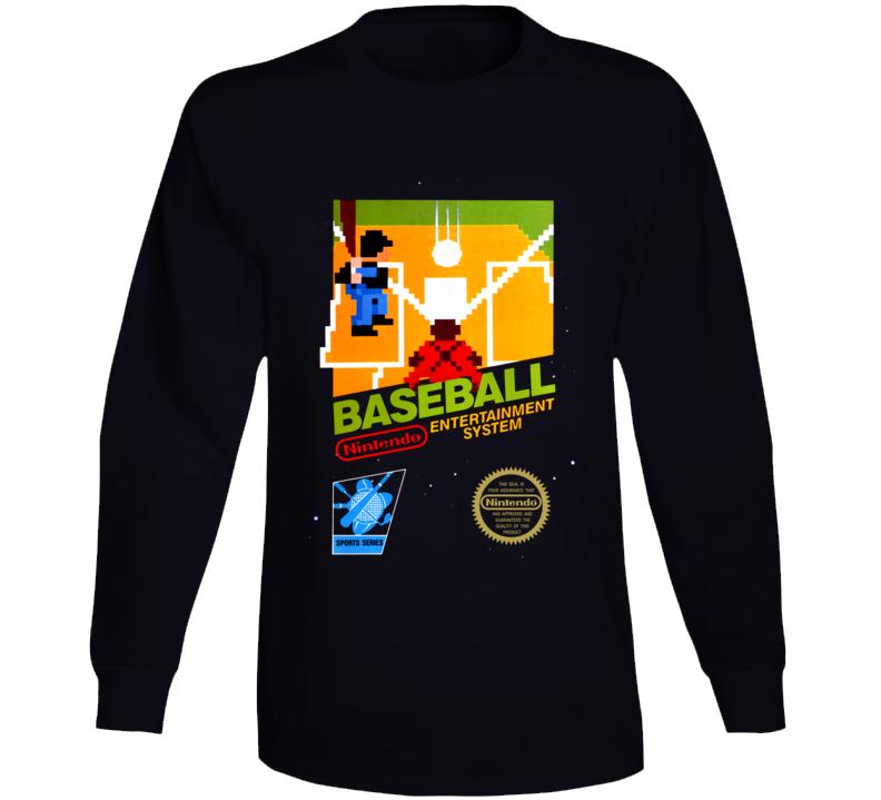 Baseball Nes Retro Box Art Long Sleeve T Shirt