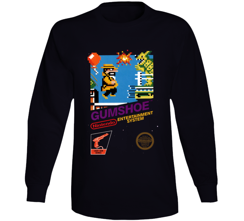 Gumshoe Nes Box Art Retro Video Game Long Sleeve T Shirt