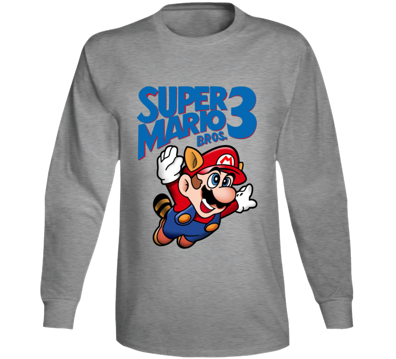 Super Mario Bros 3 Retro Video Game Long Sleeve T Shirt