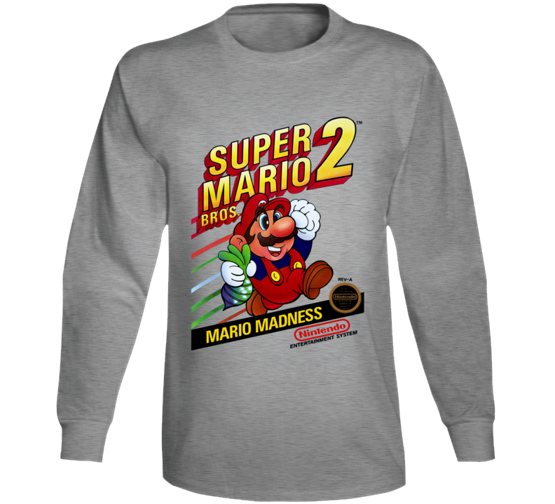 Super Mario Bros 2 Retro Video Game Long Sleeve T Shirt