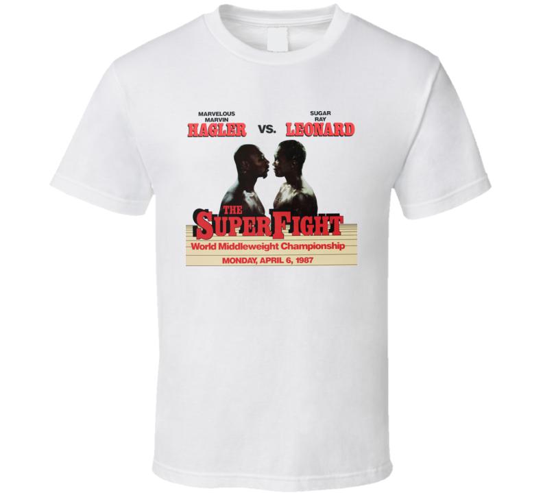 Marvin Hagler Vs Sugar Ray Leonard Retro 80's Boxing Fight T Shirt