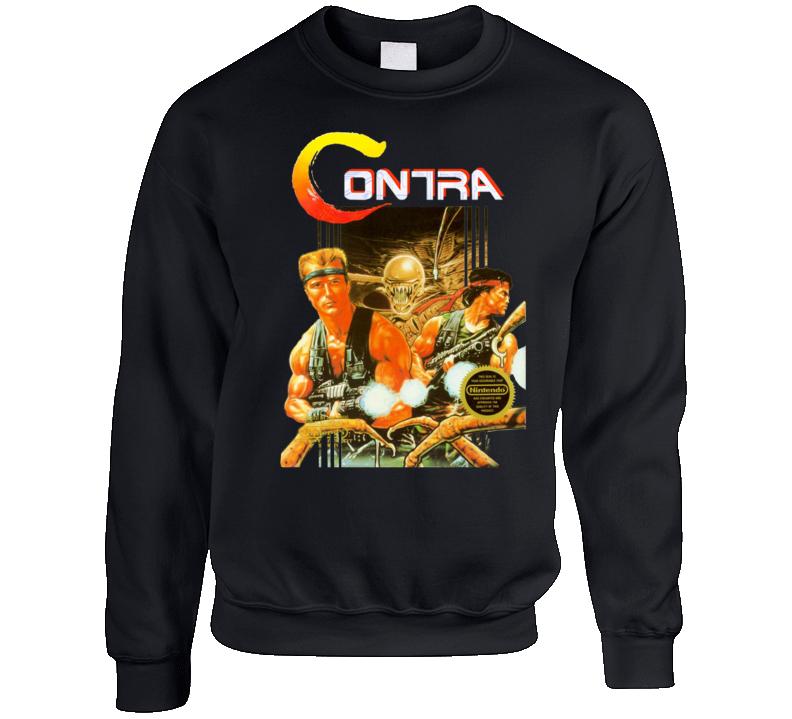 Contra Nes Classic Video Game Box Art Crewneck Sweatshirt T Shirt