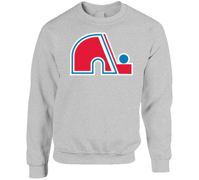 Quebec Nordiques Logo Retro Hockey Grey Crewneck Sweatshirt T Shirt