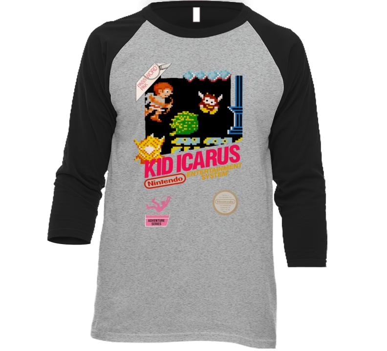Kid Icarus Nes Retro Box Art Baseball Raglan T Shirt
